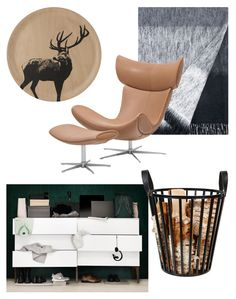 Masculine scandinavian decor: birch veneer tray, Muurla / Mohair blanket, Lapuan Kankurit / Imola armchair and footstool, BoConcept / Steel basket, Clas Ohlson / Fuuga dresser, Lundia.