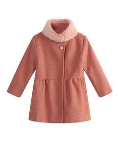 Dark Pink Faux Fur Peacoat - Toddler & Girls