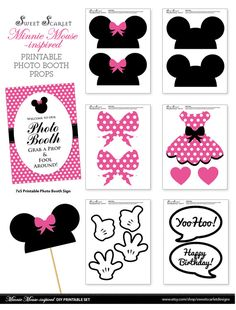 MINNIE Mouse Photo Booth Props in Hot Pink by SweetScarletDesigns