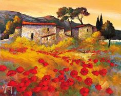 Roger Keiflin Tole Painting, Painting & Drawing, Italy Art, Pretty Art, Colorful Pictures, Home Art, New Art, Landscape Paintings, Poppies