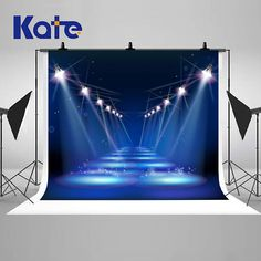 Blue Stage and Spotlights Road Photography Backdrops No