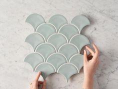 Fish Scale Tiles - Shop Now, Pay Later with Afterpay - Tile Cloud Scallop Tiles, Kitchen Splashback Tiles, Backsplash, Fish Scale Tile, Blue Christmas Decor, Pink Fish, Pink Tiles, Fish Scales, Laundry Room Design