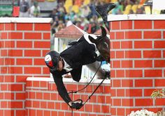 Jan Kuf of Czech Republic falls during the show jumping round of Modern Pentathlon on Day 15 of the Rio 2016 Olympic Games at Deodoro Stadium on August 20, 2016 in Rio de Janeiro, Brazil.