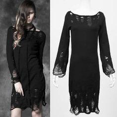 Black Knit Long Sleeve Steampunk Punk Emo Fashion Casual Sweater Dress SKU-11402317