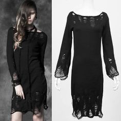 Black Knit Long Sleeve Steampunk Punk Emo Fashion Casual Sweater Dress SKU-11402317