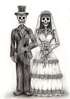 Skull art wedding day of the dead .Hand drawing on paper.