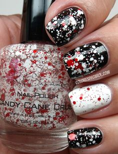 #Nails #Nailart  www.finditforweddings.com Black and white and red