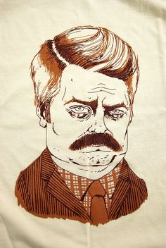 Ron Swanson screen printed t shirt in creme- men's S/M/L. $23.00, via Etsy.