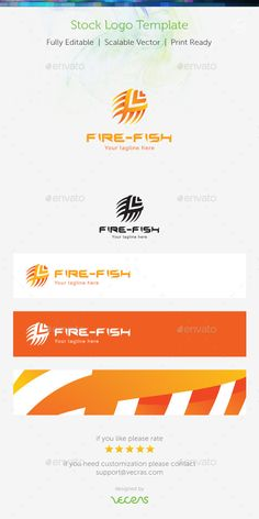 Fire Fish Stock Logo Template — Vector EPS #solar #silhouette • Available here → https://graphicriver.net/item/fire-fish-stock-logo-template-/9161668?ref=pxcr