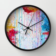 HAPPY TEARS Bright Cheerful Abstract Acrylic Painting, Drip Splat Bold Pink Red Purple Spring Art Wall Clock by EbiEmporium - $30.00