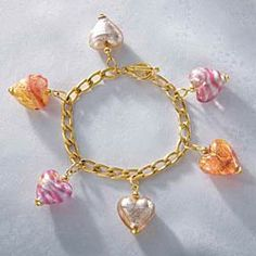 LAMPWORK MURANO STYLE GLASS HEART SHAPED FLORAL DESIGN EARRINGS £4.99 a pair NWT