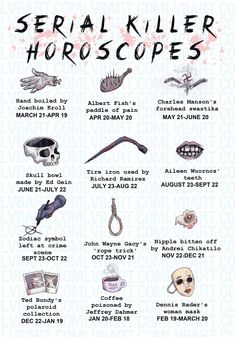 Serial Killer Horoscopes Fine Art Print, looks like I'm poised coffee guys love that for me Forensic Psychology, Forensic Science, Criminal Justice, Criminal Minds, Aileen Wuornos, Cereal Killer, Ted Bundy, Forensics, Psychopath