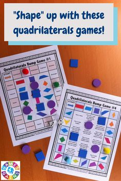 Are you looking for a way to make practicing quadrilaterals fun? This set comes with 6 bump games and 4 three-in-a-row games to help your students master identifying and classifying quadrilaterals. Just print and play! Geometry Games, Teaching Geometry, Geometry Art, Sacred Geometry, Teaching Math, Fun Math, Math Games, Math Activities, Maths