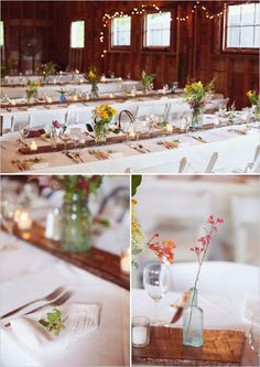 family style table setting with simple floral centerpieces   wedding chicks.