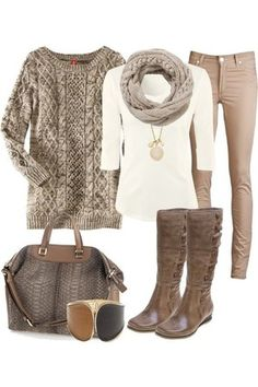Winter outfit. Goodness I love tan.