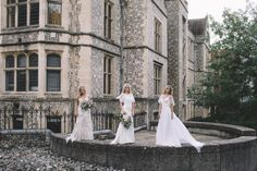 Taken outside the iconic Great Hall in Winchester, our girls wearing the Stephanie Allin La Vie en Rose collection...Alexa, Demi with Alexa top and the chiffon Breeze dress.  We love the floral aspect of these wedding dresses. Amazing photography by www.carrielaversphotography.co.uk Try Stephanie Allin wedding dresses at our luxury bridal boutique in Winchester Wedding Tiaras, Bridal Tiara, Launch Party, Wedding Dress Shopping, Wedding Bridesmaid Dresses, Portsmouth, Southampton, Our Girl, Girls Wear