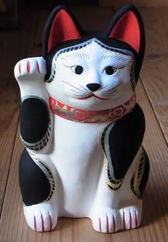 復刻猫の、三河系古作招き猫