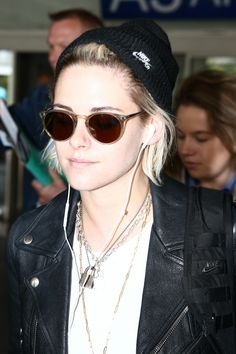 Kristen Stewart Arrives in Nice, France Ahead of Cannes Film Festival - Kristen Stewart Leather (wearing O'Malley NYC sunglasses)