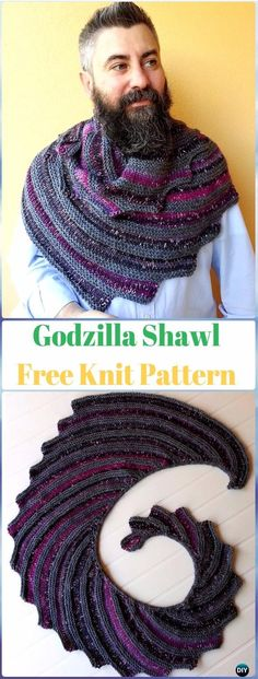 Knit Godzilla Shawl Free Pattern - Knit Scarf & Wrap Shawl Patterns