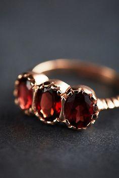 My birthstone and 3!! Garnet Trinity Ring in 14k Rose Gold by Arik Kastan