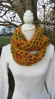 Cowl Scarf Yellow Mustard Chunky Crochet Double by LavishHoops Chunky Crochet, Cowl Scarf, Cowls, Scarfs, Mustard, Yellow, Trending Outfits, Unique Jewelry, Handmade Gifts