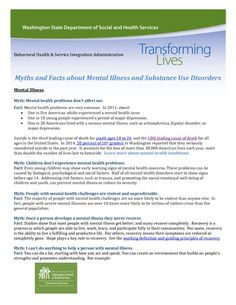 Myths and Facts Mental Illness and Substance Use