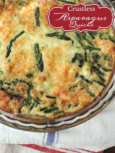 asparagus recipes My Crustless Asparagus Quiche Recipe is delicious for breakfast and/or dinner. Made with organic eggs. organic milk and fresh asparagus. PLUS, it is so easy to make. Asparagus Quiche, Grilled Asparagus Recipes, Bacon Quiche, How To Cook Asparagus, Fresh Asparagus, Breakfast Recipes With Asparagus, Quiche Crustless, Saute Asparagus, Breakfast