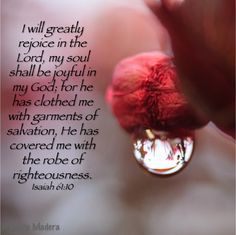 Isaiah Isaiah He has clothed me with garments of salvation & covered me with the robe of righteousness Bible Quotes, Words Quotes, Bible Verses, Sayings, Isaiah 61 10, Christian Friends, Christian Quotes, Jesus Today, Spiritual Words