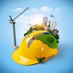 City On Construction Helmet Stock Illustration 175955624 Construction Safety, Construction Design, Business Poster, Business Brochure, Engineers Day, Computer Logo, Brand Presentation, Creative Banners, Safety Posters