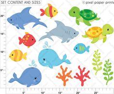 Sea Animals Neutrals - Clip Art And Digital Paper Set