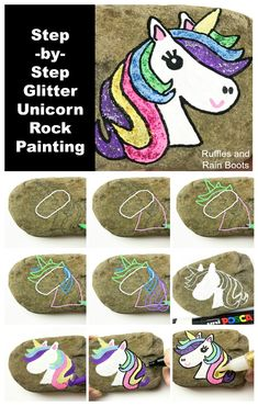 Make this unicorn rock painting in just a few minutes. Learn how to draw a unicorn, step-by-step. #unicorn #unicornlover #rockpainting #rockpainting101 #paintedstones #paintedpebbles #rockart #artrocks #rufflesandrainboots