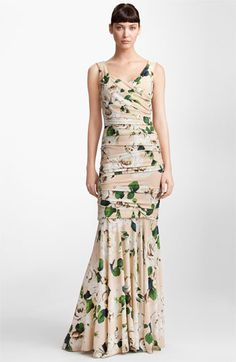 Dolce Rose Print Ruched Stretch Cady Gown available at #Nordstrom  Obviously, a $4,875 dress isn't going to fit the bill... but I love it.  Maybe because it reminds me of all that chintz from the 80s?