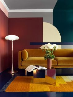 Formel A, Sofa von Sigurd Larsen. Muted colorful living room with mustard yellow velvet sofa. Modern shapes and patterned walls. Cute Home Decor, Home Decor Kitchen, Cheap Home Decor, House Design, Design Trends, Interior Design Inspiration, Home Interior Design, Colorful Interior Design, Wall Colors