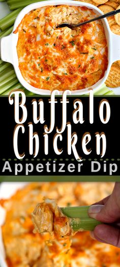 This is the best BUFFALO CHICKEN DIP appetizer recipe. An easy 5 ingredient recipe for your next party. Its creamy cheesy and tastes just like buffalo chicken wings dipped in ranch dressing. Yummy Recipes, Easy Potluck Recipes, Potluck Dishes, Vegetarian Recipes Dinner, Appetizer Recipes, Easy Meals, Easy Potluck Appetizers, Best Appetizers Ever, Italian Appetizers