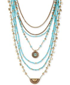 NWT Lucky Brand Gold-Tone & Blue Stone Multi-Layer Statement Necklace JLRY6015 #LuckyBrand #Statement