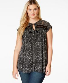 Lucky Brand Plus Size High-Neck Semi-Sheer Printed Top