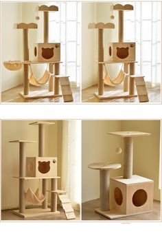 Product Name:Cat Tower FurnitureMaterial:Compressed wood boards、plush fabric、Natural sisal -Covered Scratching Cat Tree House, Cat House Diy, Cat Tree Condo, House For Cats, Cat Condo, Cat Mansion, Wooden Cat House, Wooden Cat Tree, Cat Tree Designs