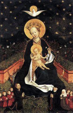 Anonieme kunstenaar, Madonna on a Crescent Moon in Hortus Conclusus, ca. 1450