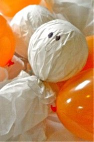 Ghost Busters, Kids relay race where they burst balloon ghosts by sitting on them - Love It!!  This game and more Found on Madly Stylish Events