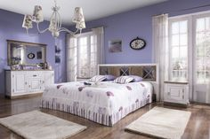 Znalezione obrazy dla zapytania sypialnia fioletowa w prowansalskim stylu