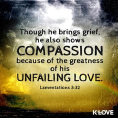 Though he brings grief, he also . Thy Word, Word Of God, Answered Prayers, Lamentations, New Living Translation, In God We Trust, Spiritual Inspiration, Gods Love, Grief