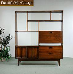 Mid Century Modern Room Divider Bookcase Hutch from Furnish Me Vintage. Storage and a divider; I love a multitasker.
