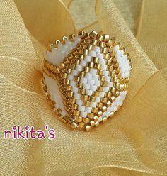 Miyuki ring Hadmade Ring Nikitas Design Ring Glassbeads
