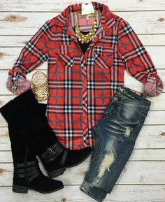 Penny Plaid Flannel Top: Red/Teal