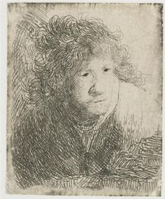 1628  Self-portrait, leaning forward, listening - Rembrandt