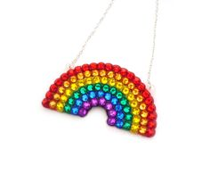 New to VelvetVolcano on Etsy: Sparkly Rainbow Necklace - Multicoloured ROYGBIV Pendant - Red Orange Yellow Green Blue Purple Kitsch Rhinestone Jewellery (11.70 GBP)