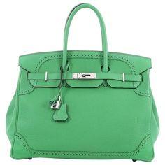 Hermes Birkin Ghillies Handbag Green Togo and Swift with Palladium Hardware 35