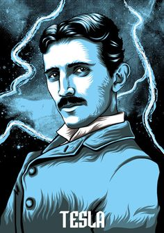 Nikola Tesla: genius, inventor, electric wizard and owner of a very fine mustache by David Maclennan Tesla Nikolai, Nikola Tesla Patents, Nicola Tesla, Psy Art, Pop Culture Art, Vector Portrait, Science Art, Spirit Science, Cool Art