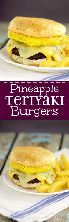 Pineapple Teriyaki Burgers are traditional juicy hamburgers featuring a sweet pineapple topping with tangy Teriyaki sauce right in the burger. Top with lots of gooey cheese!  Super yummy Summer grill, cookout, or BBQ idea!