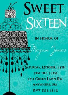 Sweet 16 Birthday Invitation Sweet Sixteen by Createphotocards4u